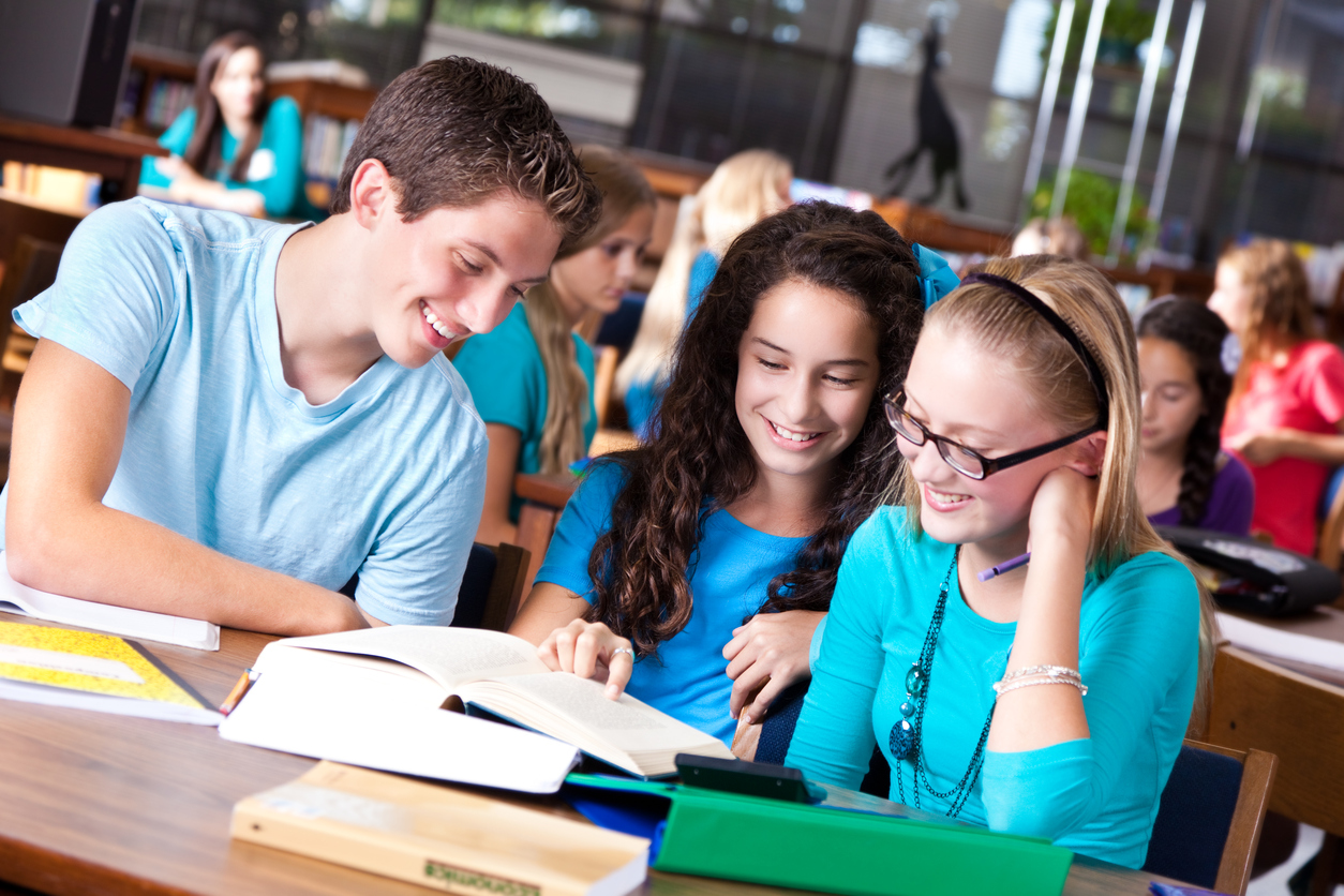 Silver _ Happy high school students studying together in the library iStock_155133776.jpg